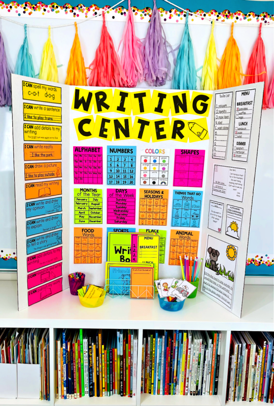 Setting Up a classroom Writing Center that Gets Kids in K-2 Excited - pop-up foldable writing center