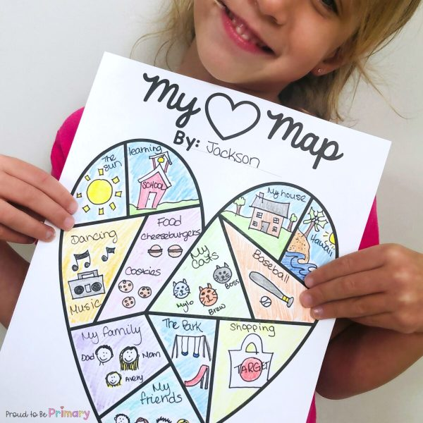 Help Kid Writers Create Writing in 6 Easy Steps - heart map activity