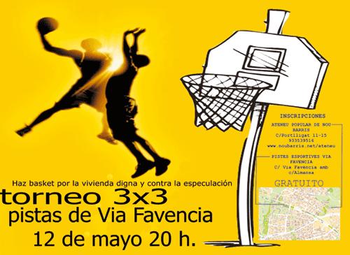 Cartel del torneo de basket por la vivienda digna