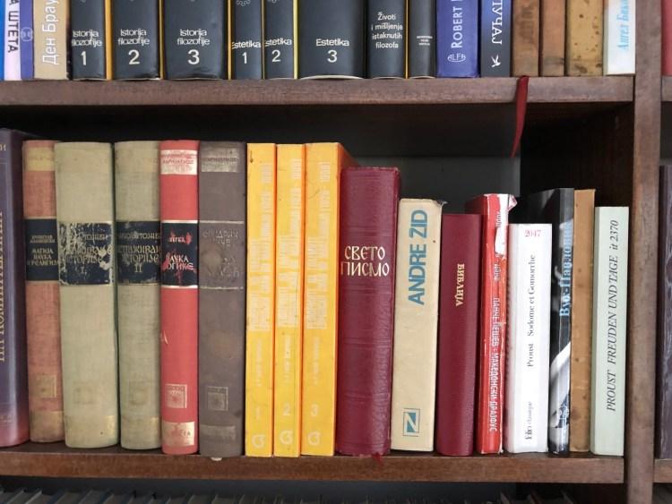 Livres de Proust et Gide chez Dans la bibliothèque de Gjorgi Marjanovic - Proustonomics photo Nicolas Ragonneau
