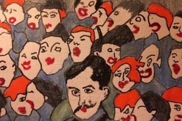 Dessin de Marcel Proust entouré de visages