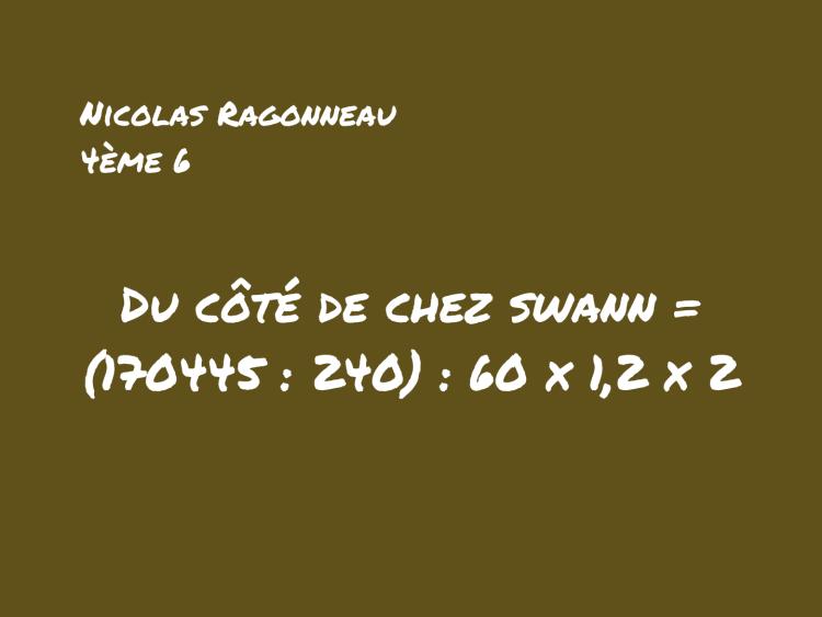 Tableau avec problème de maths proustien