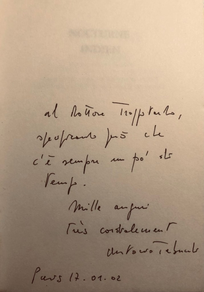 Dédice d'Antonio Tabucchi à Philippe Charlier