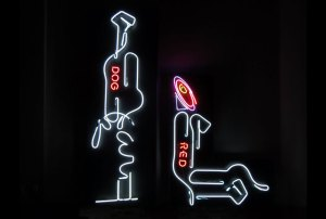 "photo of neon sculpture ""The Couple"""