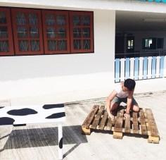 Carpentry in the sun