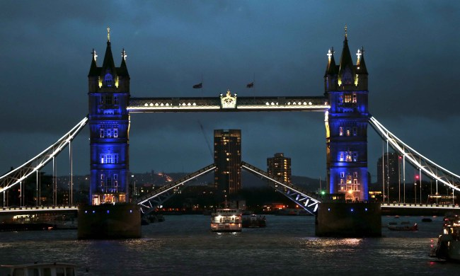 Following the attacks in Paris, blue lights, in a sequence of blue, white and red projections representing France's national flag, illuminate Tower Bridge in London