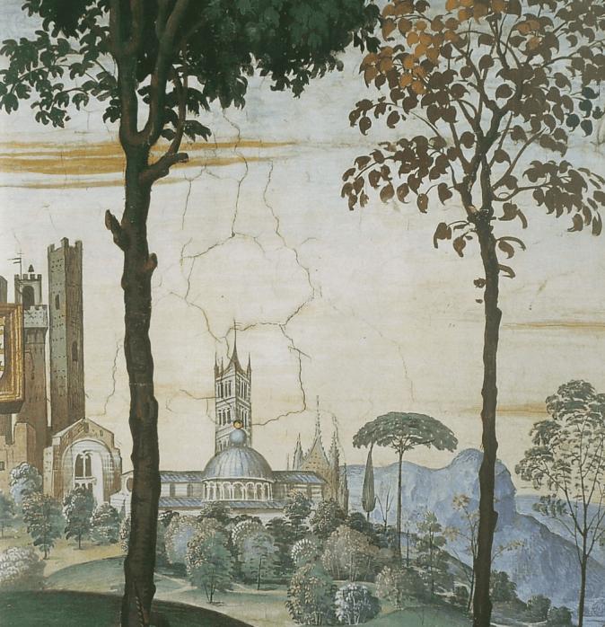 Enea Silvio, vescovo di Siena, presenta Eleonora d'Aragona all'imperatore Federico III, dettaglio con veduta della città di Siena.png