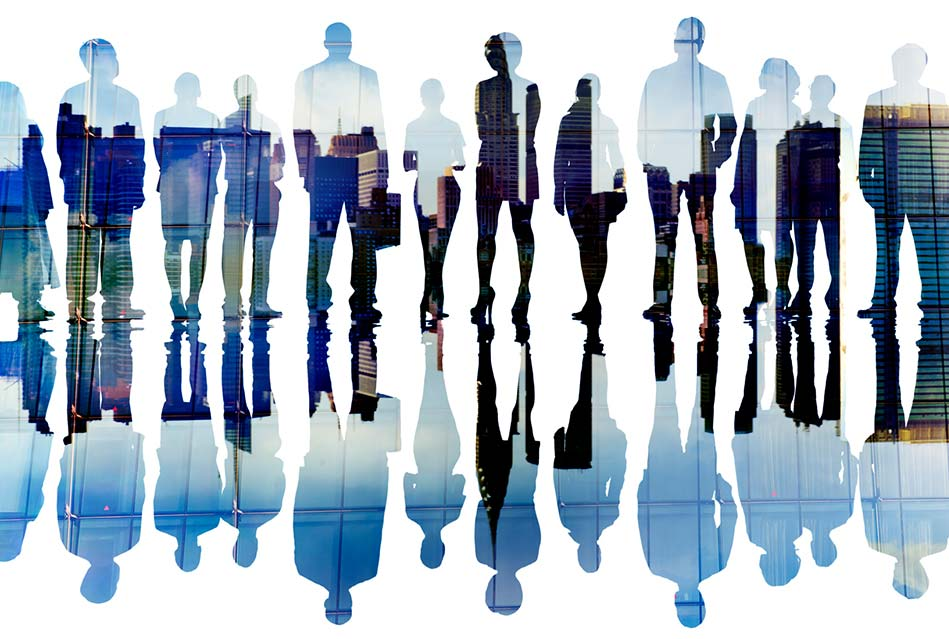 silhouettes of property managers with an photo overlay atop of them