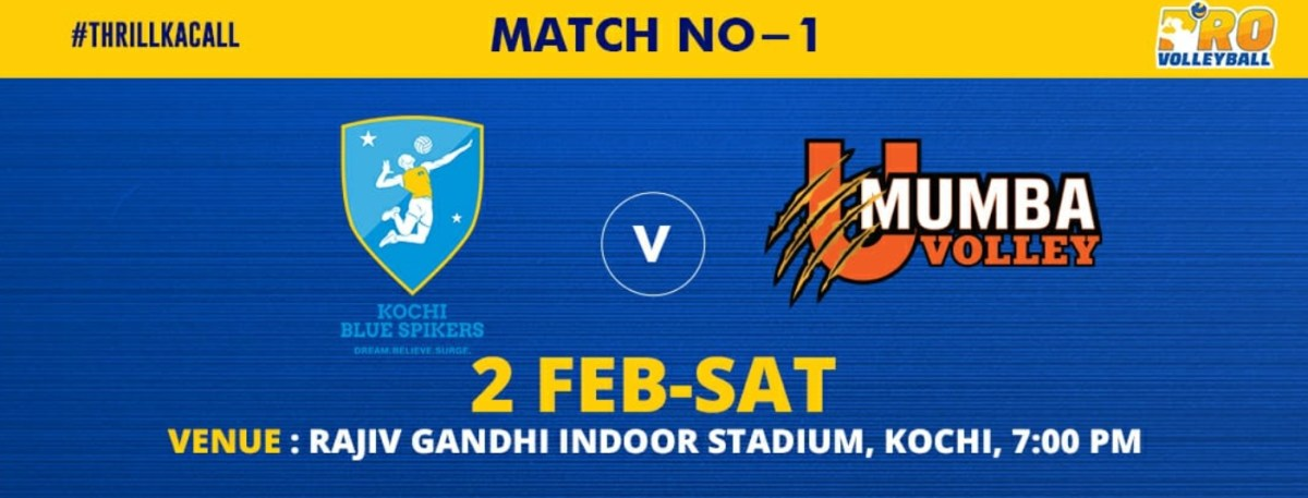 [Match 1] Kochi Blue Spikers vs U Mumba Volley, Live Streaming, Scores, Highlights, PVL 2019 Today 02 February 2019