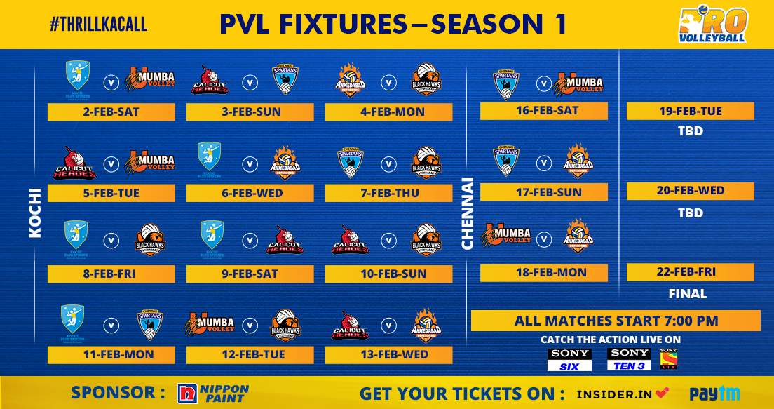 Pro Volleyball League 2019 Schedule