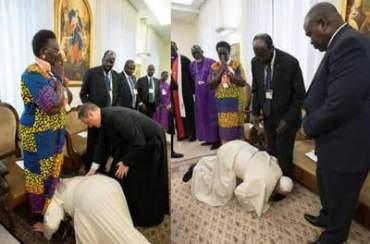 Папа Римський поцілував ноги лідерам Південного Судану