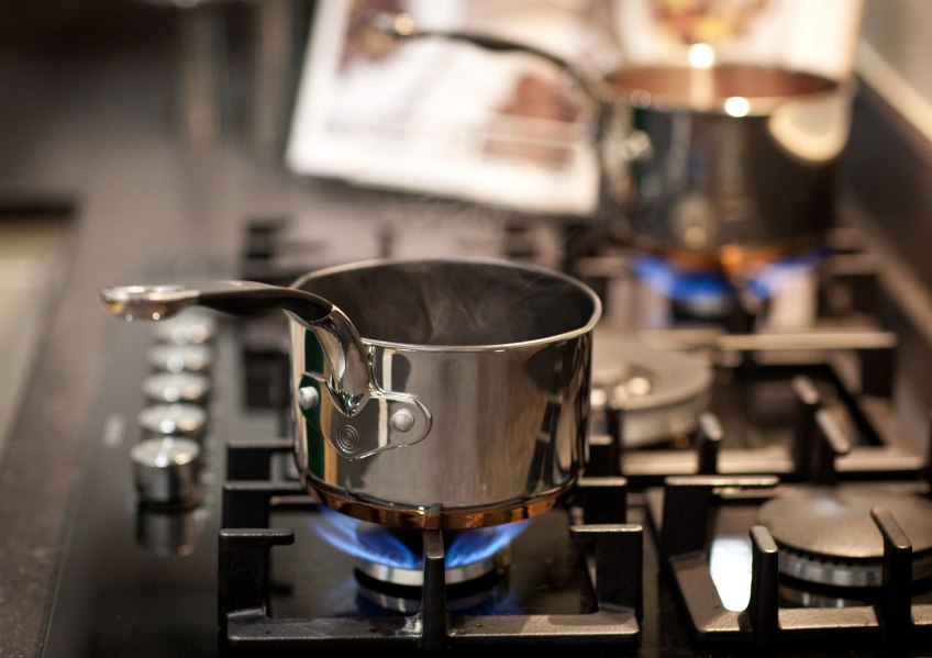 Proware Copper Base pans on hob top