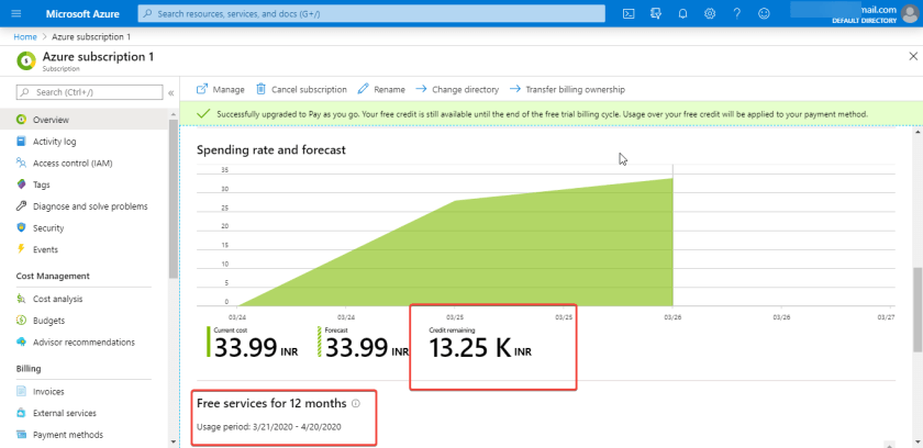 Microsoft Azure Cloud Free for 1 Year