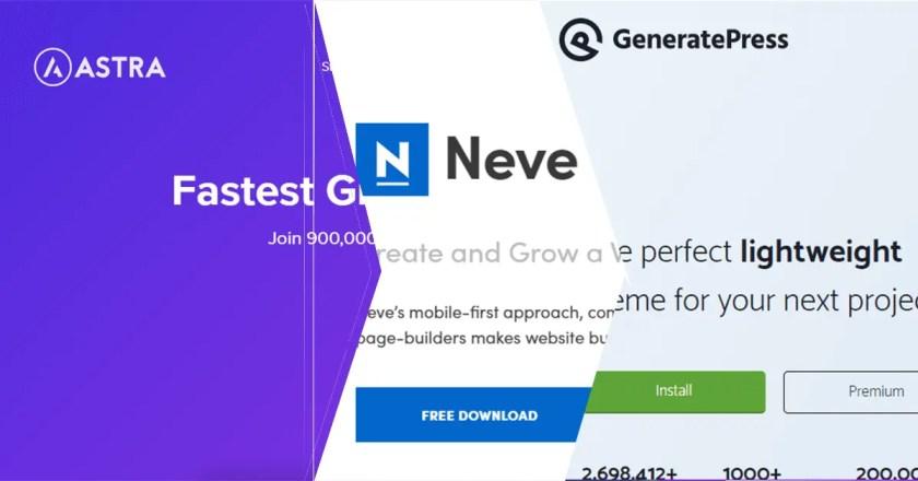 Best Lightweight WordPress Themes Like Astra Pro Generate Press and Neve Pro