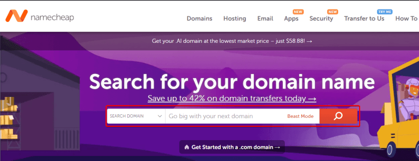Search for Domain Name on Namecheap.com