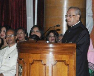 President of India Pranab Mukherjee addressing at the presentation of the Nari Shakti Puruskars for the year 2016