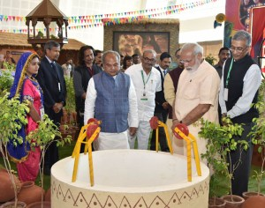 The Prime Minister of India Narendra Modi visits the exhibition at 'Swachh Shakti 2017' - A Convention of Women Sarpanches, in Gujarat on March 08, 2017.