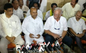Ashok Gajapathi Raju Pusapati and the Union Minister for Social Justice and Empowerment, Thaawar Chand Gehlot at a press conference, in Vizianagaram, Andhra Pradesh on June 08, 2017.