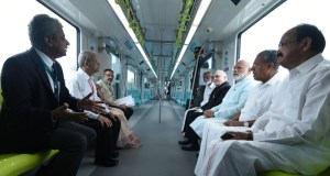 The Prime Minister, Narendra Modi and other dignitaries take a ride on Kochi Metro, in Kerala on June 17, 2017.