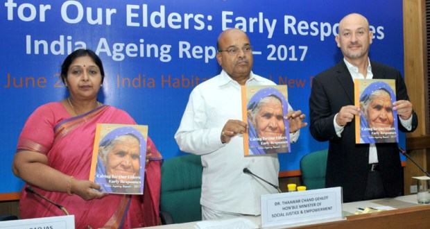 "The Union Minister for Social Justice and Empowerment, Thaawar Chand Gehlot releasing the ""UNFPA Report on Caring of our Elders: Early Response, India Ageing Report-2017"", in New Delhi on June 19, 2017."
