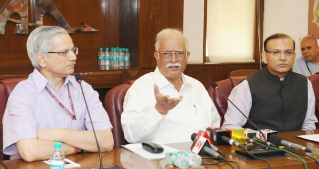 The Union Minister for Civil Aviation, Ashok Gajapathi Raju Pusapati announcing the second International Airport in NCR at Jewar, U.P., in New Delhi on June 24, 2017. The Minister of State for Civil Aviation, Jayant Sinha and the Secretary, Ministry of Civil Aviation, R.N. Choubey are also seen.