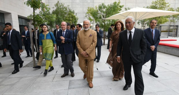 Foundation stone for AIIMS, Bilaspur will be laid by honourable Prime Minister Narendra Modi on 3rd of October this year. In the Picture: The Prime Minister, Narendra Modi at the Champalimaud Foundation designed by noted Indian architect Charles Correa, in Lisbon, Portugal on June 24, 2017. The Prime Minister of Portugal, Antonio Costa is also seen.
