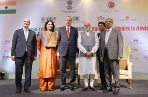 CII Pledges Partnership for India@75: Shobana Kamineni, President, CII seen here with PM Narendra Modi, Industry Leaders and Delegation from Turkey led by Tayyip Erdogan, President of the Republic of Turkey in May 2017