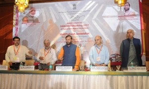 HRD Minister, Prakash Javadekar at the award ceremony of the 'SWACHHTA' Ranking 2017 of Higher Education Institutions, in New Delhi.