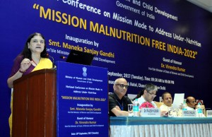 Maneka Sanjay Gandhi addressing at the inauguration of the National Conference on Mission Mode to address Under-Nutrition, in New Delhi on September 19, 2017.