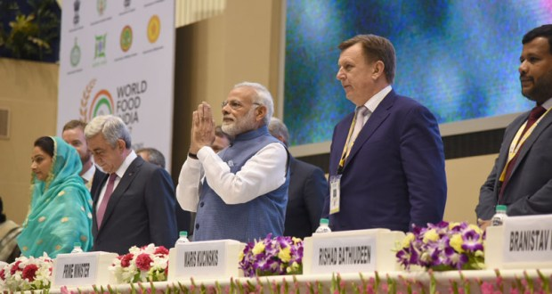 The Prime Minister, Narendra Modi at the inauguration ceremony of the World Food India 2017, in New Delhi on November 03, 2017.