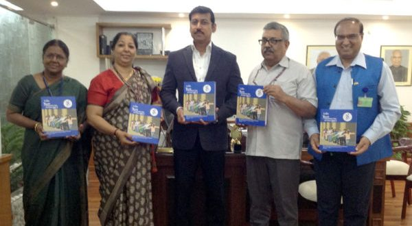 The Minister of State for Youth Affairs and Sports (I/C) and Information & Broadcasting, Rajyavardhan Singh Rathore releasing the India Youth Development Index and Report 2017, in New Delhi, on November 13, 2017. The Secretary, Youth Affairs, Dr. A.K. Dubey and the Director, RGNIYD, Prof. (Dr) Madan Mohan Goel are also seen.
