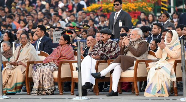 Economic Survey 2017-18 gives India hint of better economic growth ahead in 2018-19. Seen in the picture are Vice President, M. Venkaiah Naidu,  Prime Minister, Narendra Modi and the Speaker, Lok Sabha, Sumitra Mahajan  at the 'Beating Retreat' ceremony, at Vijay Chowk, in New Delhi on January 29, 2018.