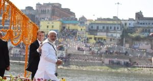 PM Modi showing the glimpse of New India and its spiritual depth to  French President Emmanuel Macron during their boat ride and visit @ Varanasi