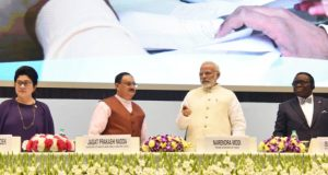 """The Prime Minister, Narendra Modi launching the TB Free India Campaign, at the inaugural session of """"END TB"""" Summit, in New Delhi on March 13, 2018."""