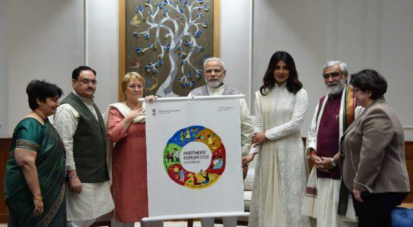 A delegation of Partnership for Maternal, Newborn and Child Health (PMNCH) including the Union Minister for Health & Family Welfare, J.P. Nadda calling on the Prime Minister, Narendra Modi and present the logo for the 2018 Partners' Forum, in New Delhi on April 11, 2018.
