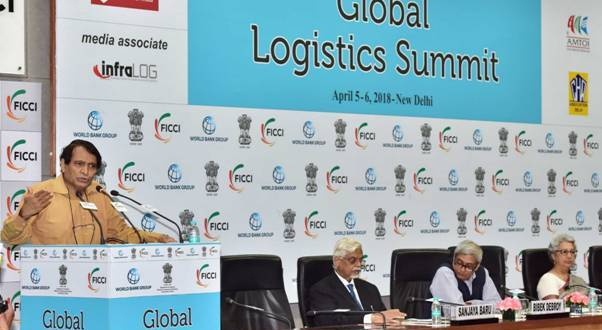 The Union Minister for Commerce & Industry and Civil Aviation, Suresh Prabhu, delivering the inaugural address at the Global Logistics Summit, in New Delhi