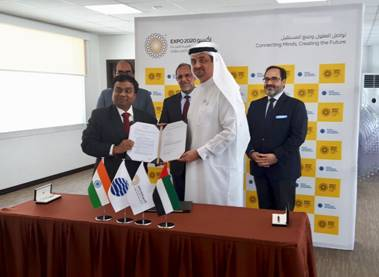 Seen signing India's presence at World Expo Dubai 2020 are Manoj K. Dwivedi, Joint Secretary, Ministry of Commerce, Government of India on Indian side and Najeeb Mohammed Al Ali, Executive Director, Dubai Expo 2020 Bureau on behalf of Expo 2020 at the Expo site in the presence of Navdeep Suri, Ambassador of India to UAE, Vipul, Consul General of India, Dubai and Tarek Shayya, Board Director-Chief International Participants Officer, Dubai Expo