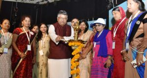 "The Union Minister for Electronics & Information Technology and Law & Justice, Ravi Shankar Prasad lighting the lamp to inaugurate the National Level workshop on ""Tele-Entrepreneurship Course (TEC)"", organised by CSC, in New Delhi on May 14, 2018."