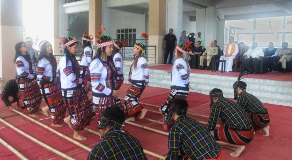 Seen in the pic Traditional Cheraw dance performed by the Students of Mizoram University, in Aizawl, Mizoram on May 24, 2018.  Pic for representation only.