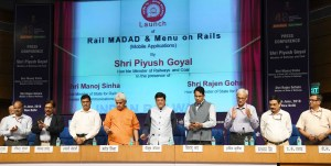 Piyush Goyal launching the two apps 'Rail Madad' and 'Menu on Rails', at a press conference on the achievements of the Ministry of Railways & Coal, during the last four years, in New Delhi on June 11, 2018. MoS Manoj Sinha, Chairman, Railway Board, Ashwani Lohani, DG, Sitanshu R. Kar and other dignitaries are also seen.