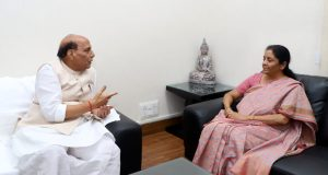 Sworn on India First pledge -Union Minister for Defence, Nirmala Sitharaman calling on the Union Home Minister,  Rajnath Singh, in New Delhi on June 01, 2018.