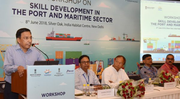 "The Secretary, Ministry of Shipping, Gopal Krishna addressing at the inauguration of a one day workshop on ""Skill Development in the Port and Maritime Sector"", in New Delhi on June 08, 2018. 	The Member of Parliament (Lok Sabha), Andaman and Nicobar Islands, Shri Bishnu Pada Ray and other dignitaries are also seen."