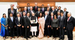 Seen in image is members of United States India Strategic Partnership Forum (USISPF) comprising senior industry and business captains of the United States of America, call on the Prime Minister, Narendra Modi, in New Delhi on October 30, 2018.
