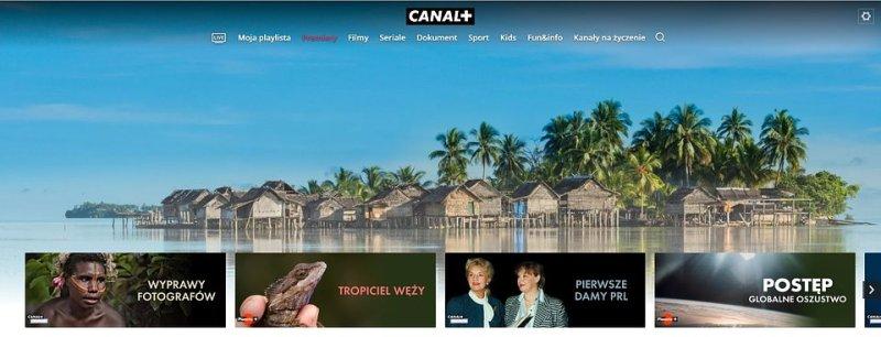 (serwis CANAL+ telewizja przez internet, strona główna z zakładką prowadzącą do usługi PREMIERY)