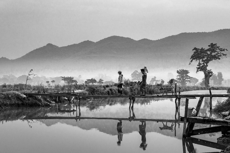 Peaceful morning family walk in Myanmar (Yan Xing/AGORA images)