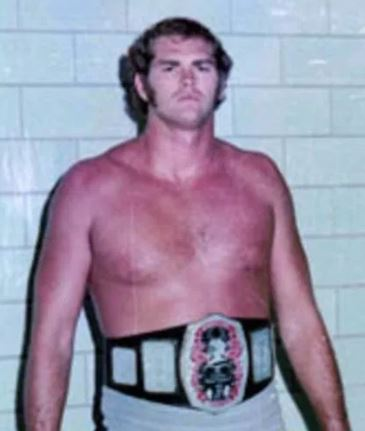 Ron Fuller wearing the Southern heavyweight title wrestling belt