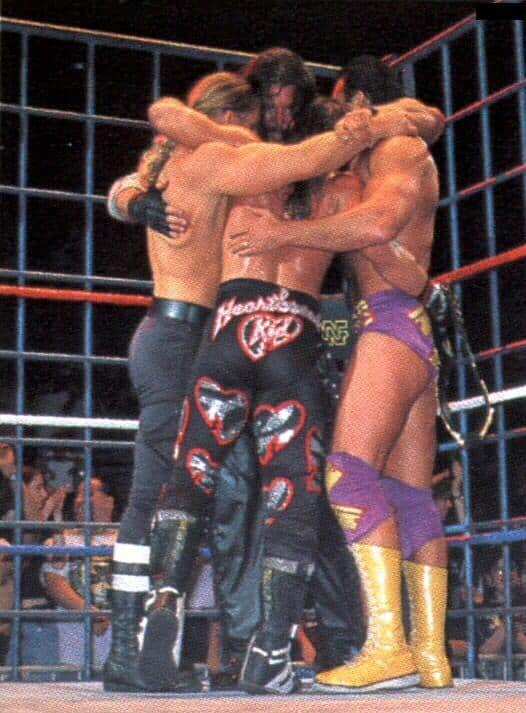 """The infamous """"Curtain Call"""": Triple H, Diesel (Kevin Nash), Shawn Michaels and Razor Ramon (Scott Hall) hug it out at a WWE House Show"""