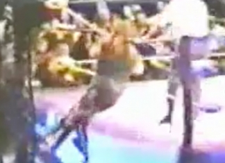 In an incredibly frightening moment, Mick Foley gets caught up in the ropes in a match against Vader in Germany in '94. Moments later, he would lose his ear.