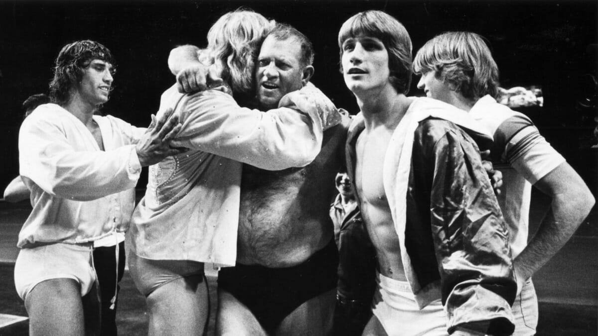 The Von Erichs: Father Fritz with sons Kevin, David, Michael, Chris and Kerry. Kevin Von Erich is second from right.