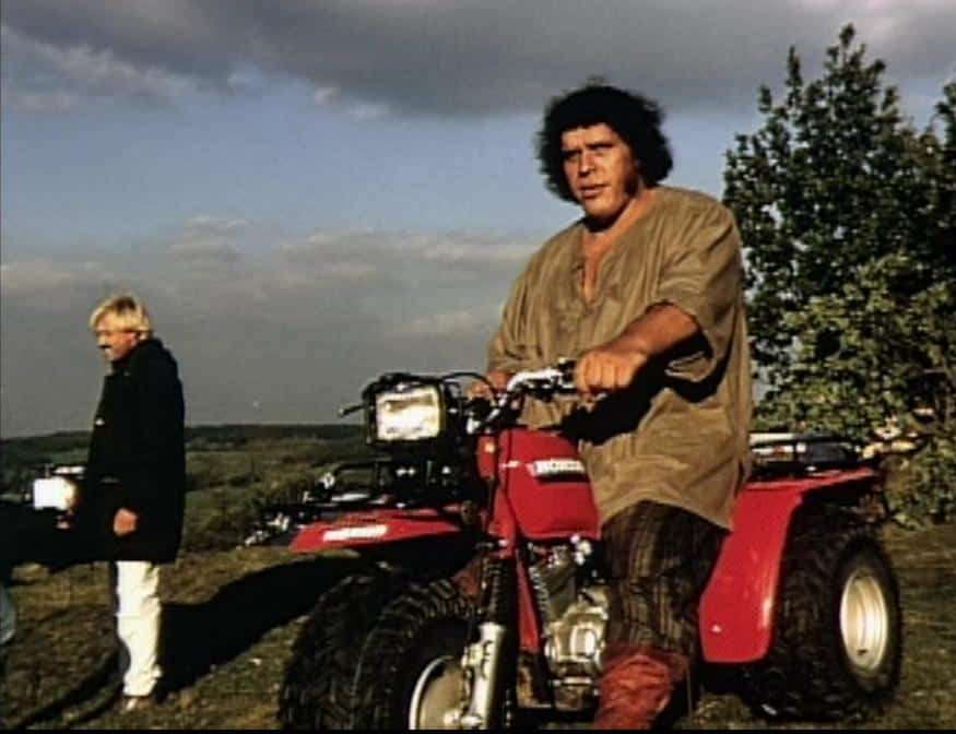 Andre the Giant riding his ATV on location of the film 'The Princess Bride'